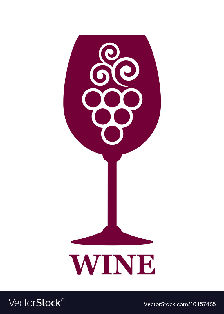 Wine glass icon with grapes