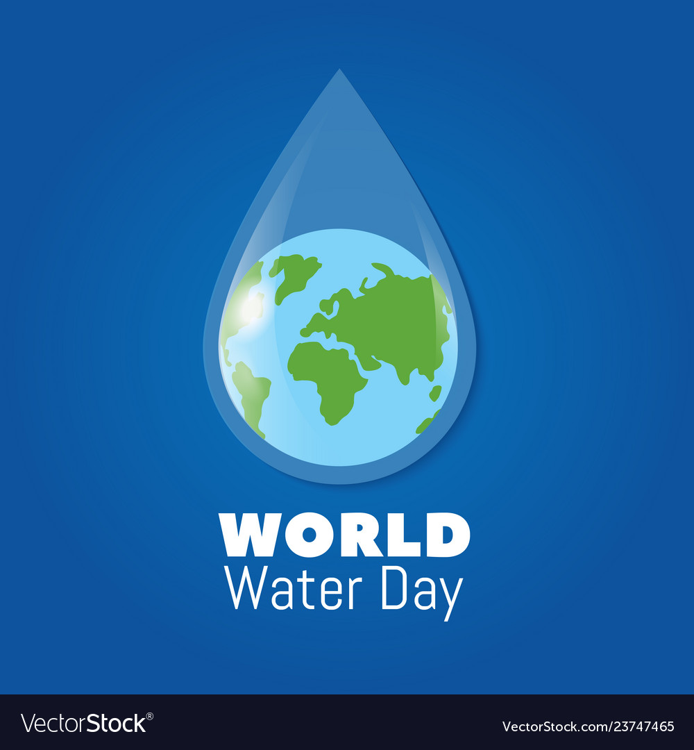 World water day poster earth in clear water drop