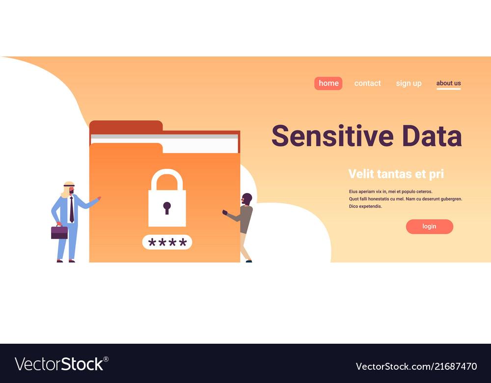 Arabic businessman with hacker padlock password