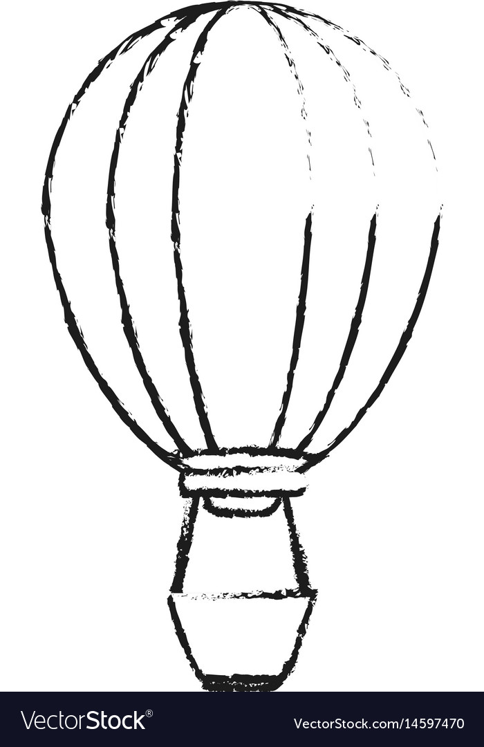 Black blurred silhouette cartoon hot air balloon