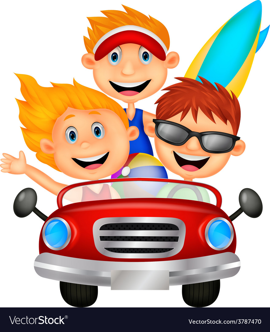 Cartoon Young man and woman having fun driving the vector image