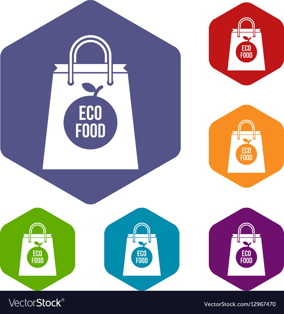 Eco food bag icons set