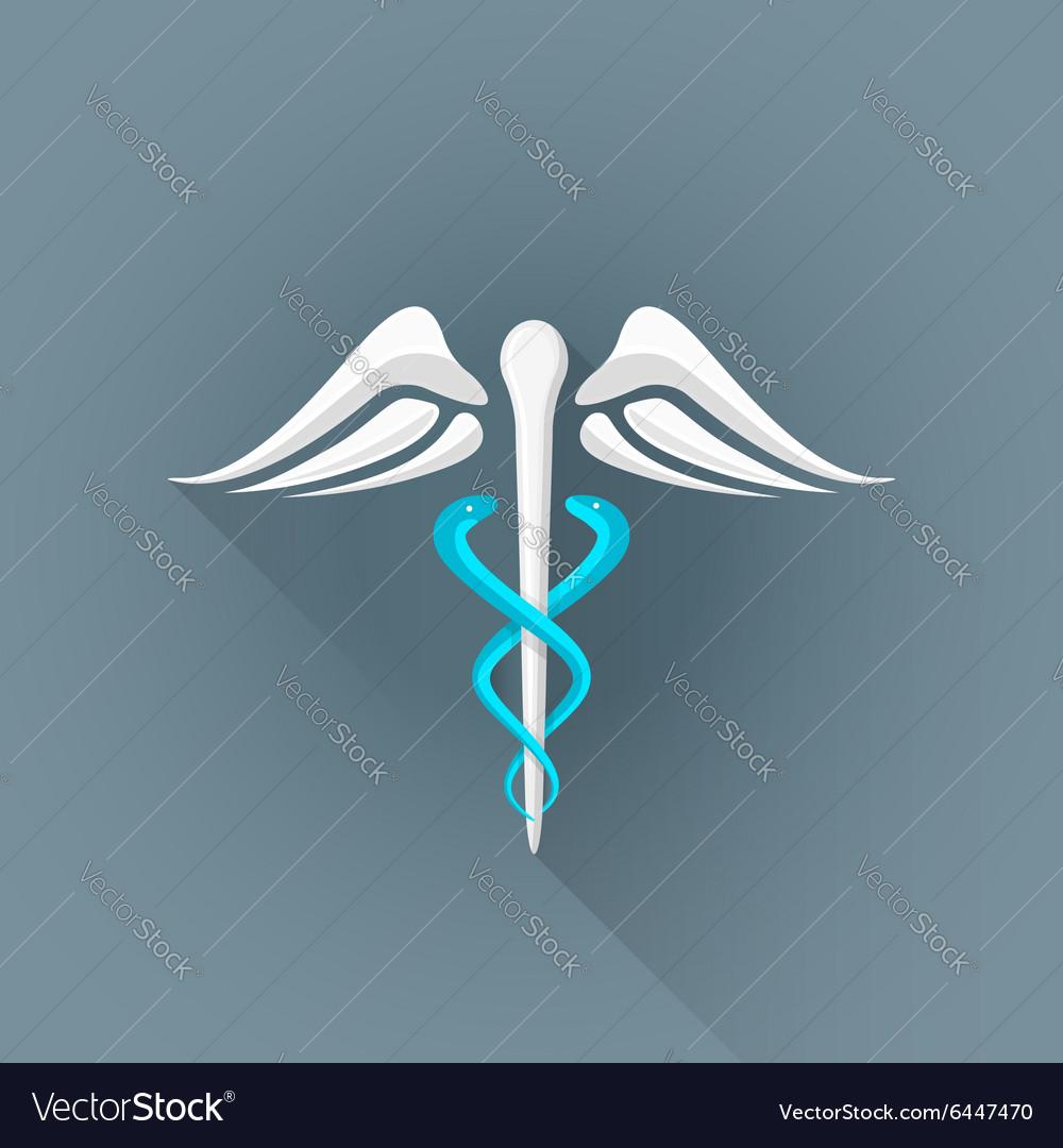 Flat caduceus medicine symbol icon vector image