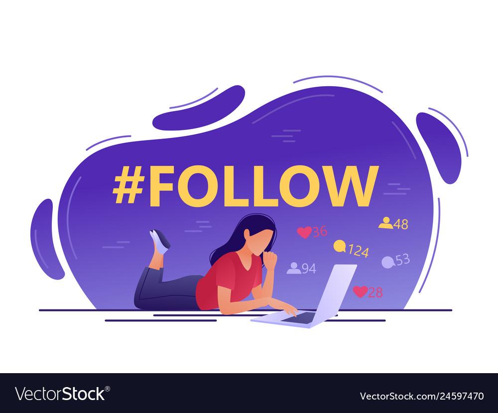 Follow hashtag - young woman using laptop social