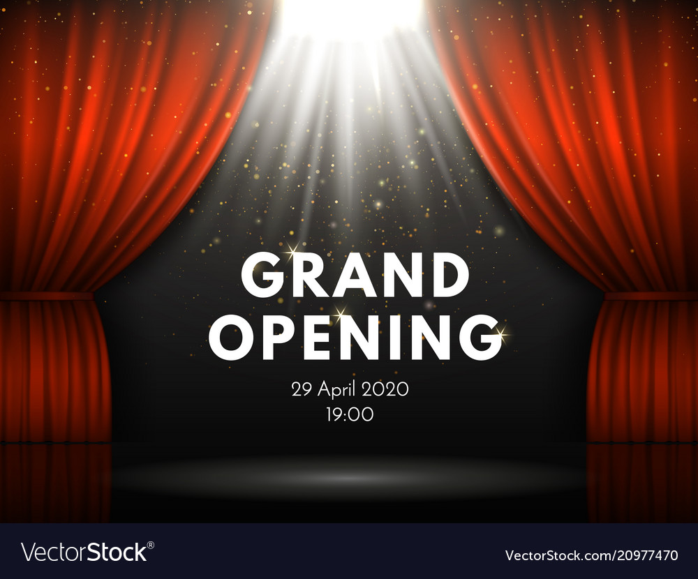 Grand opening poster with red curtains at theater