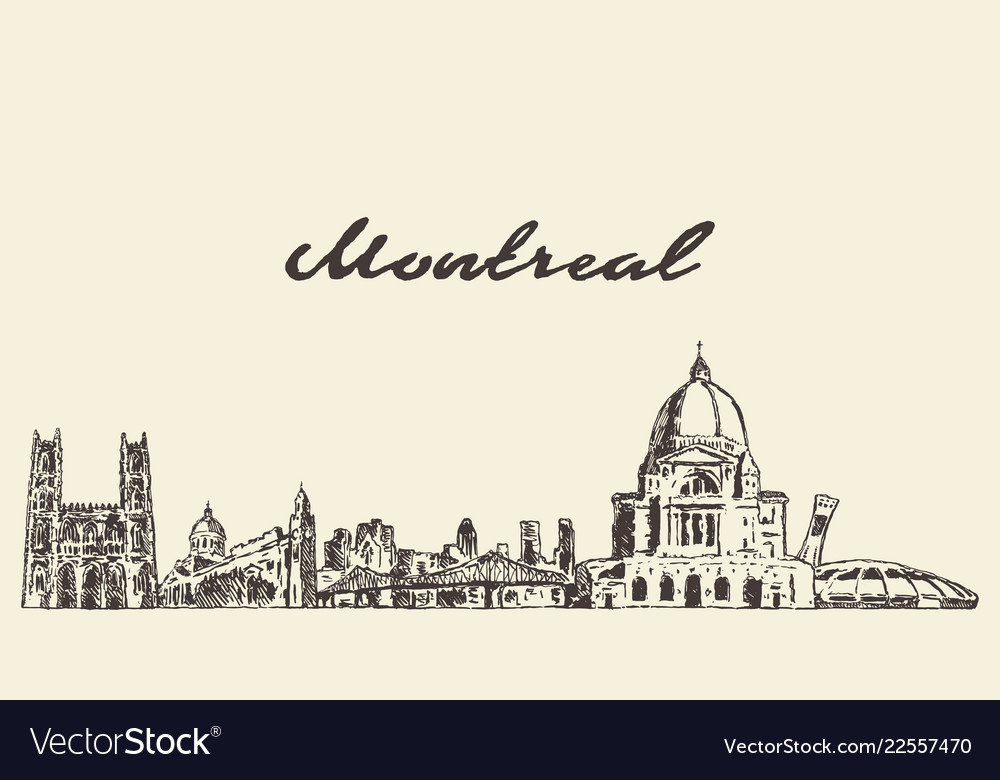 Montreal skyline canada city drawn sketch