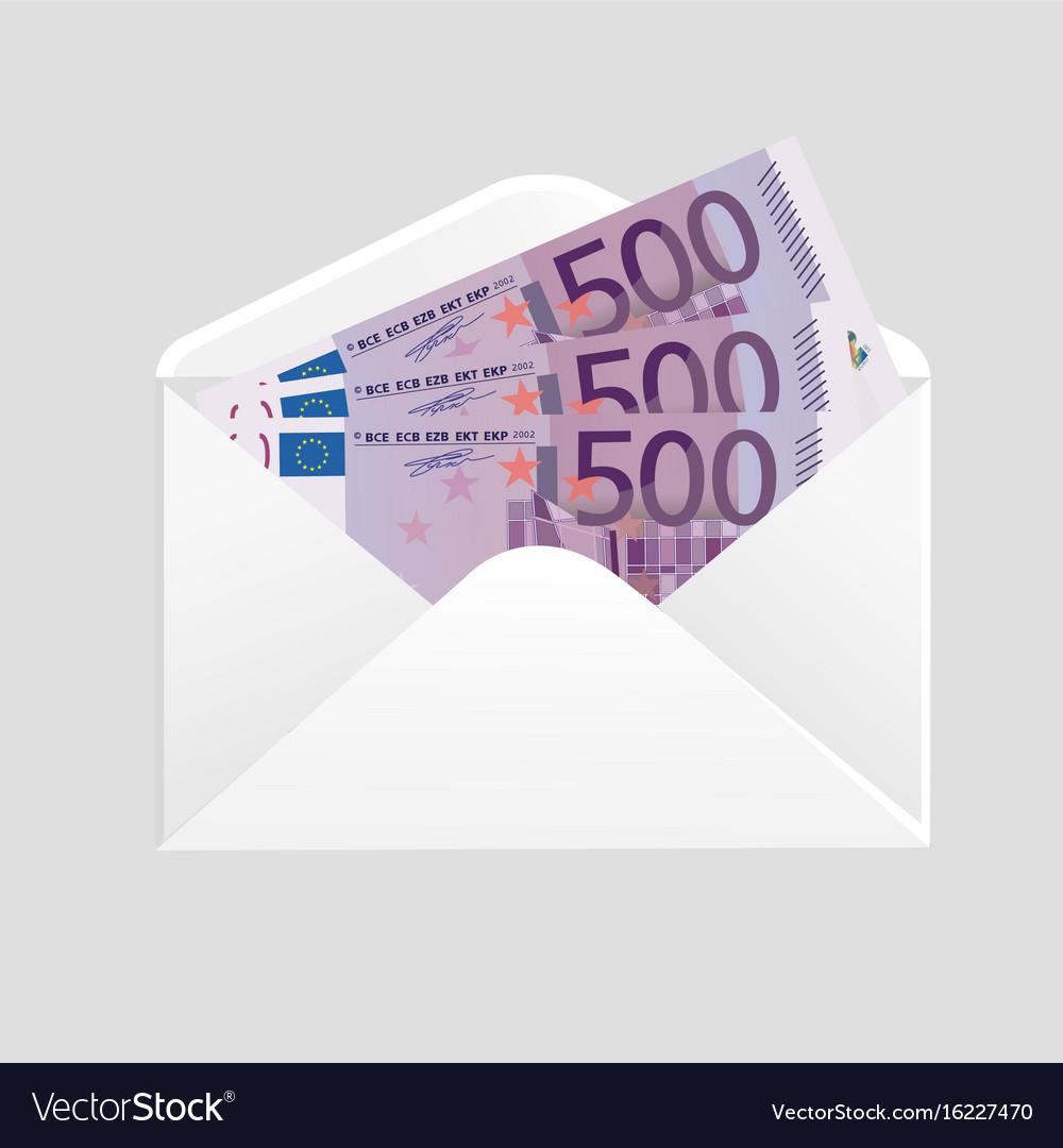Open envelope and 500 euro bills cash