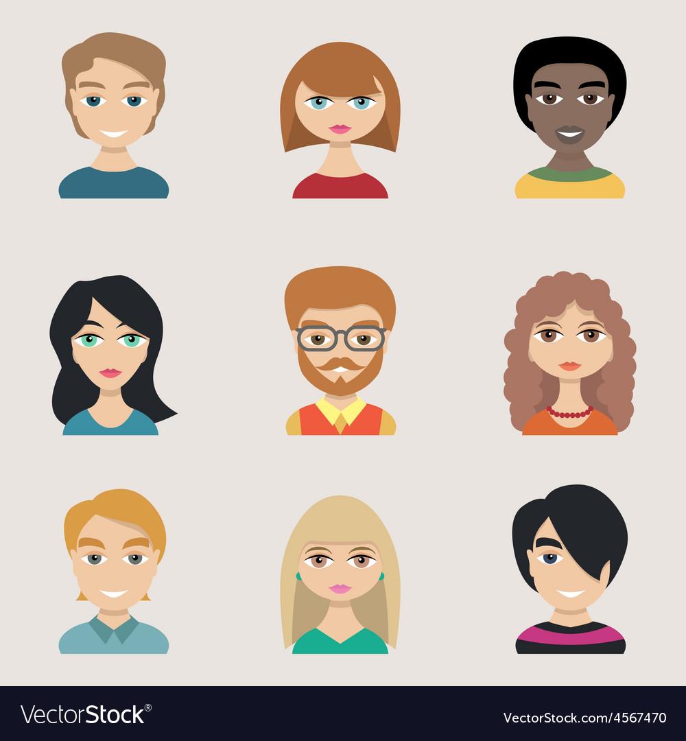 People icons peolple avatars flat style