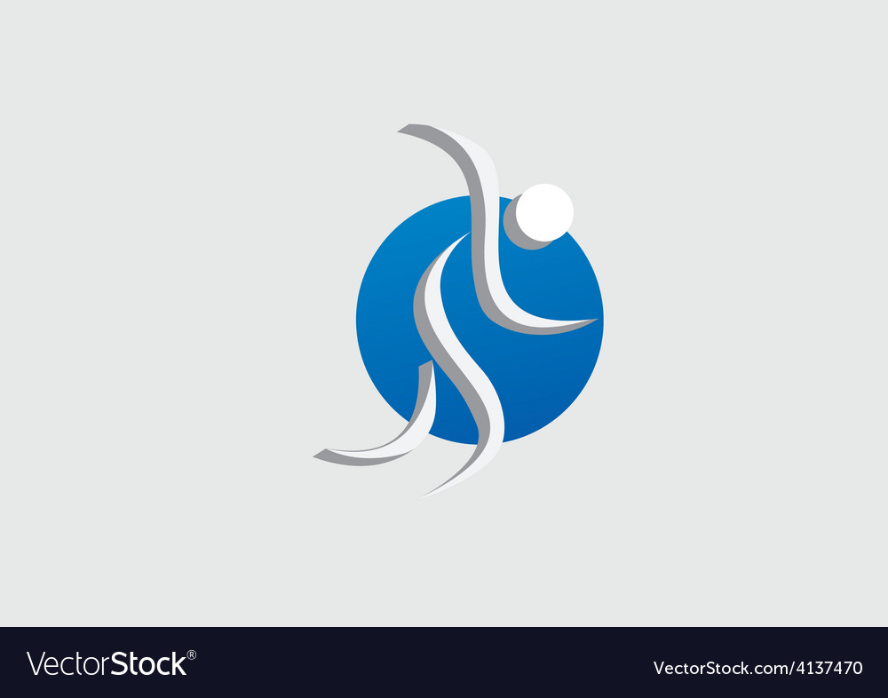 Running people abstract icon logo