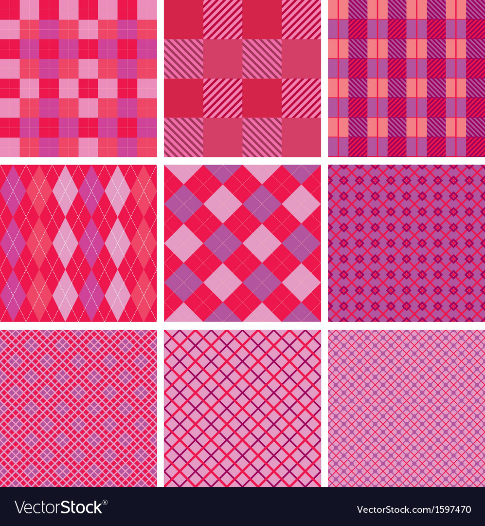 Set of plaid seamless patterns in pink colors