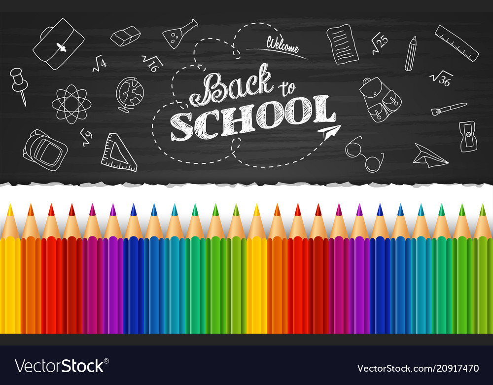 Whiteboard with colored pencils and back to school