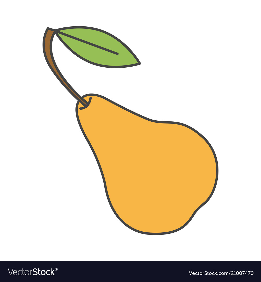 Yellow pear with green leaf close-up flat design