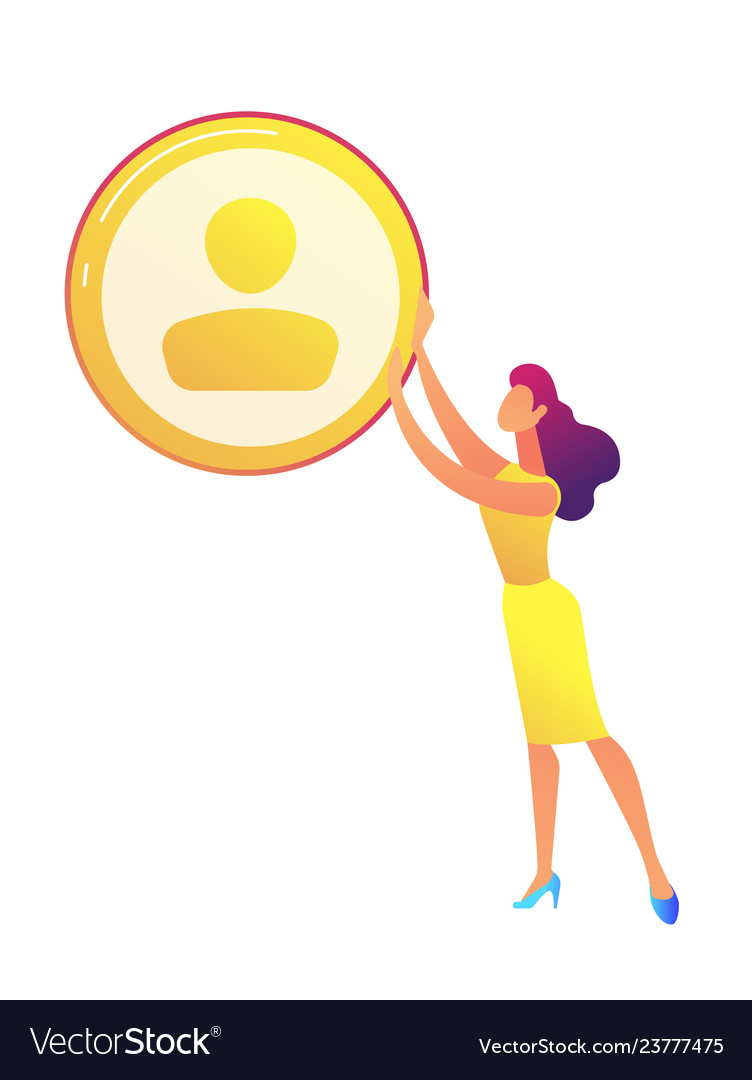 Business woman holding golden avatar icon
