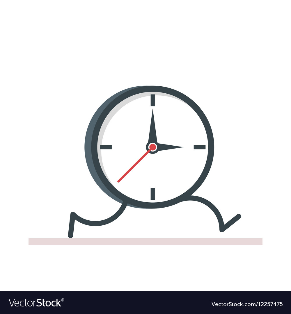 Cartoon clock running Flat vector image
