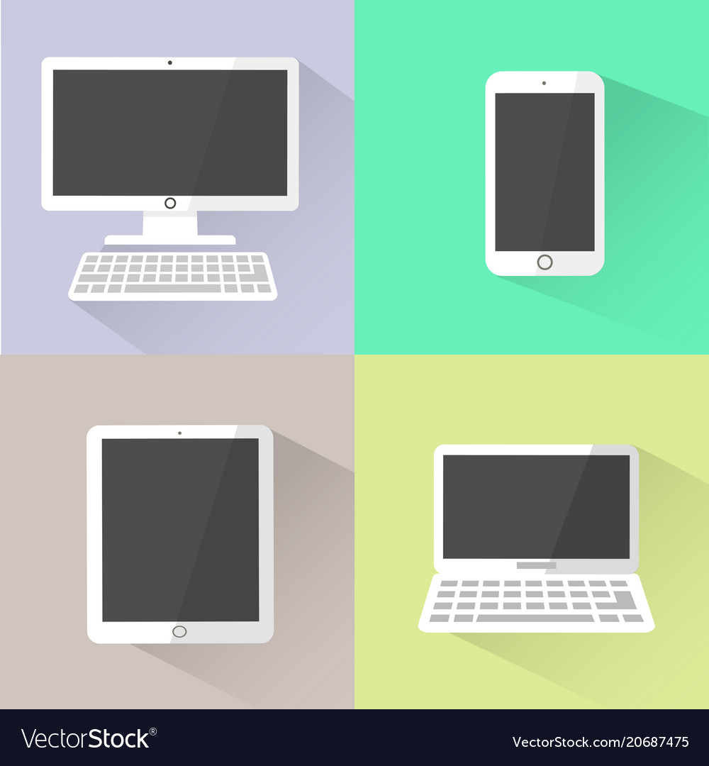 Devices icon white computer laptop tablet and vector image