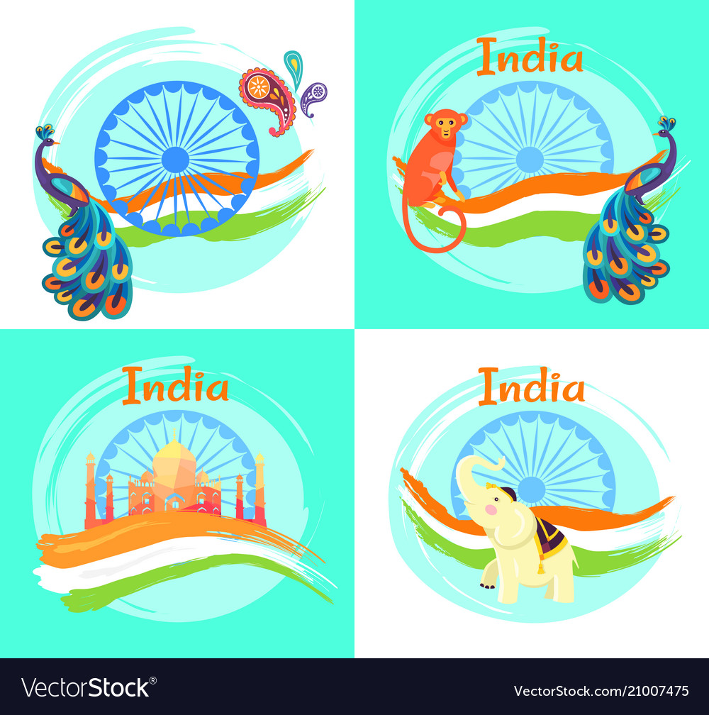 Famous india symbols on set of bright posters