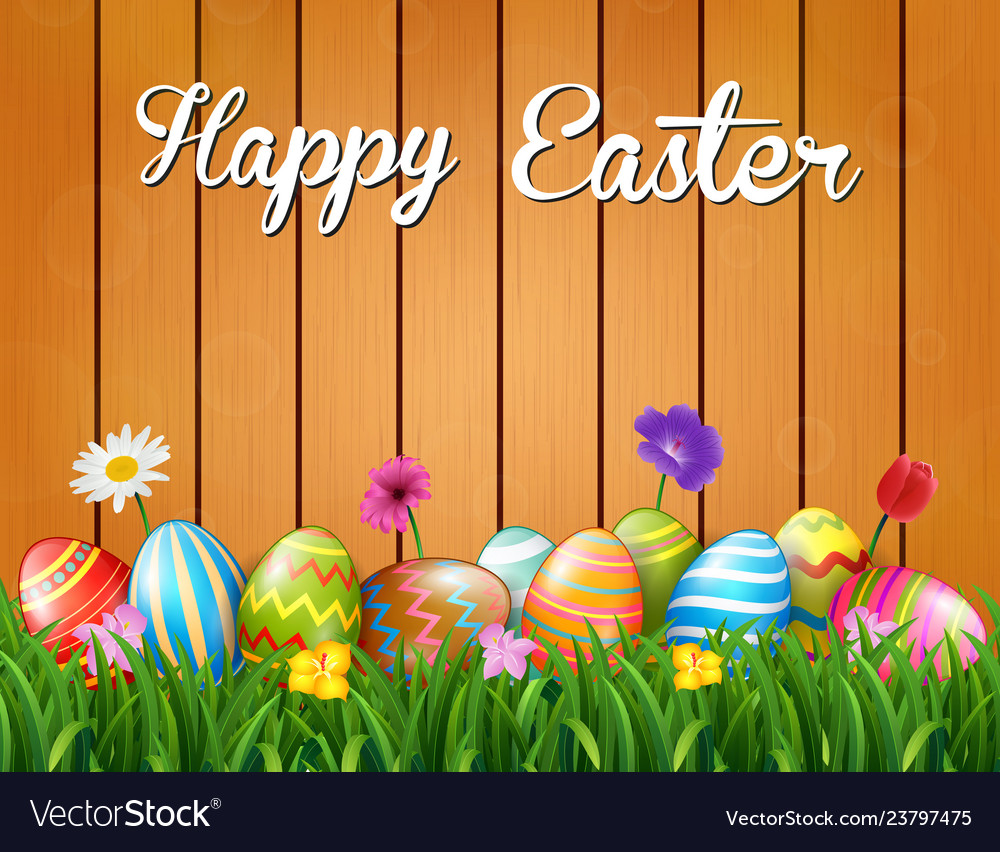 Happy easter with flowers and colored eggs in the