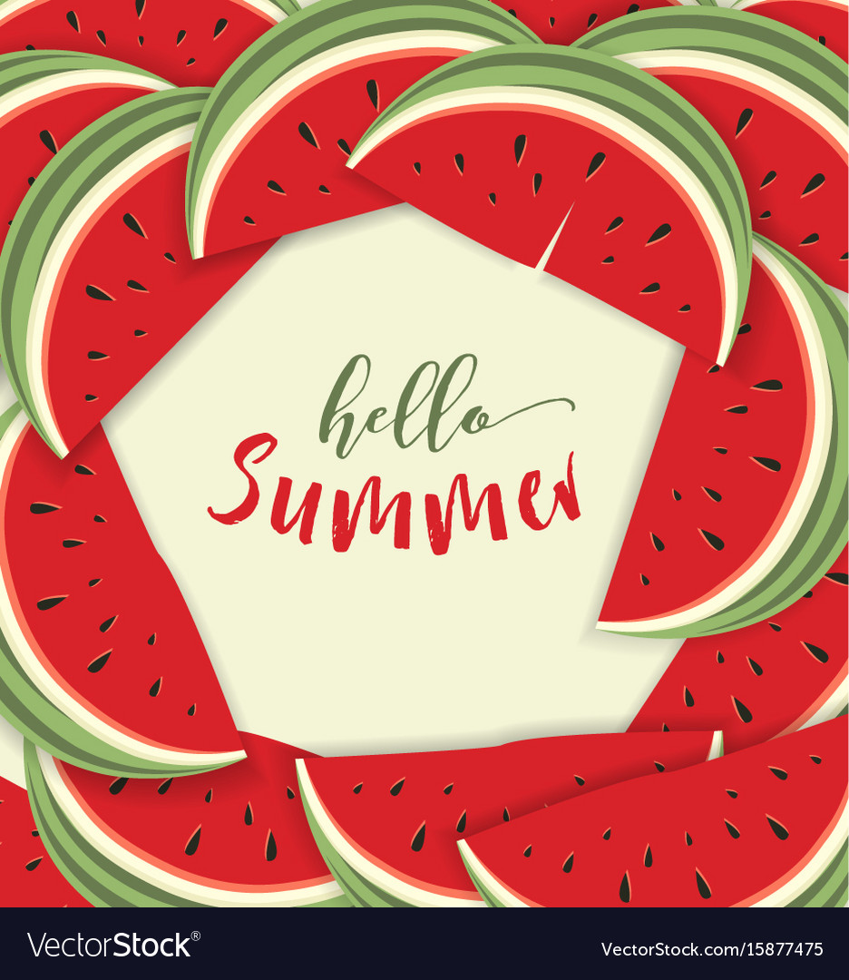 Hello summer card with melon