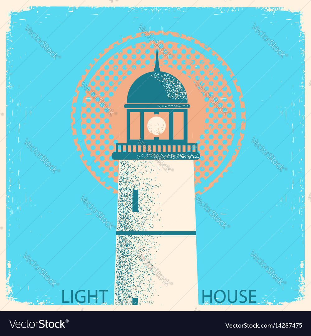 Lighthouse vintage poster on old paper texture