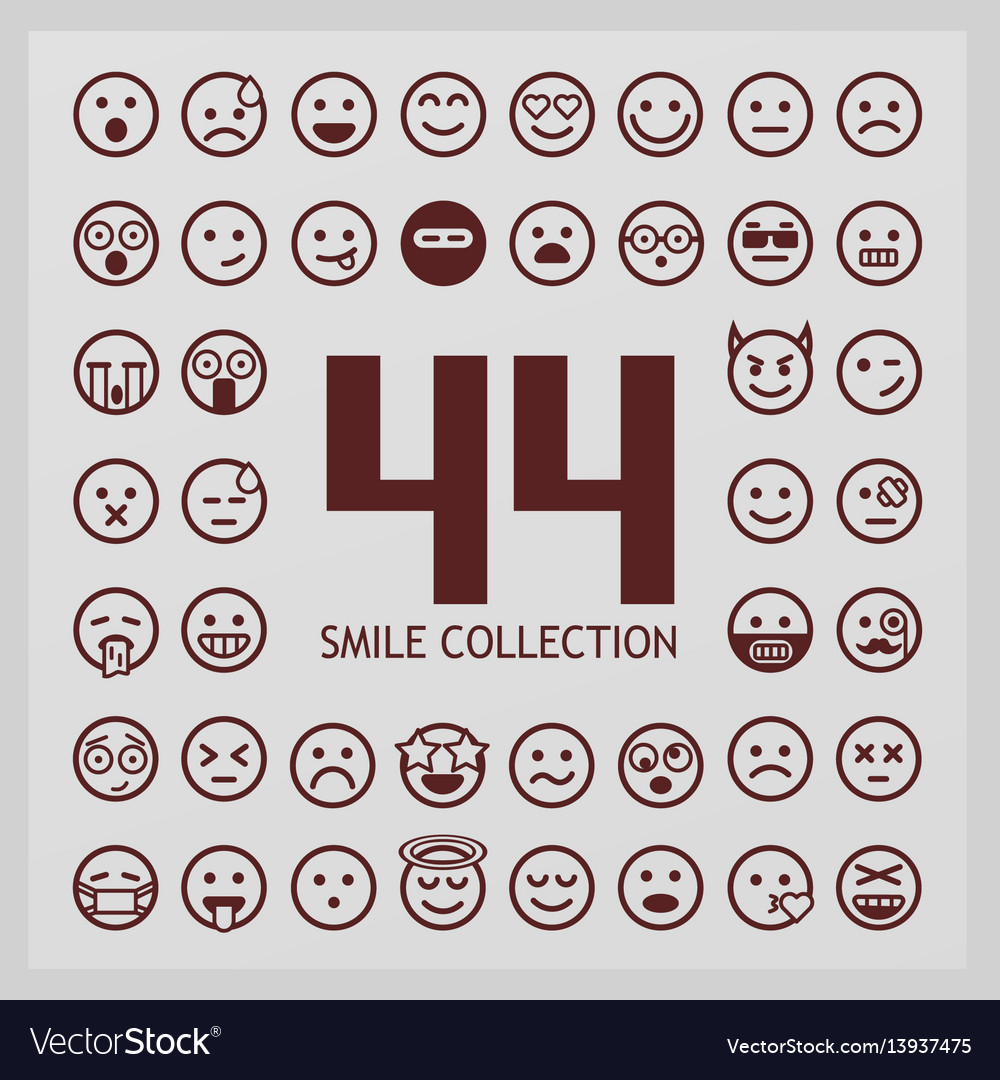 Outline smiles collection 44 emoji