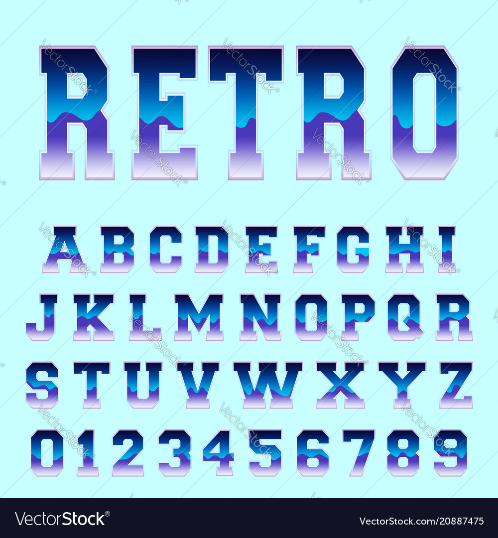 Retro alphabet font template vector image