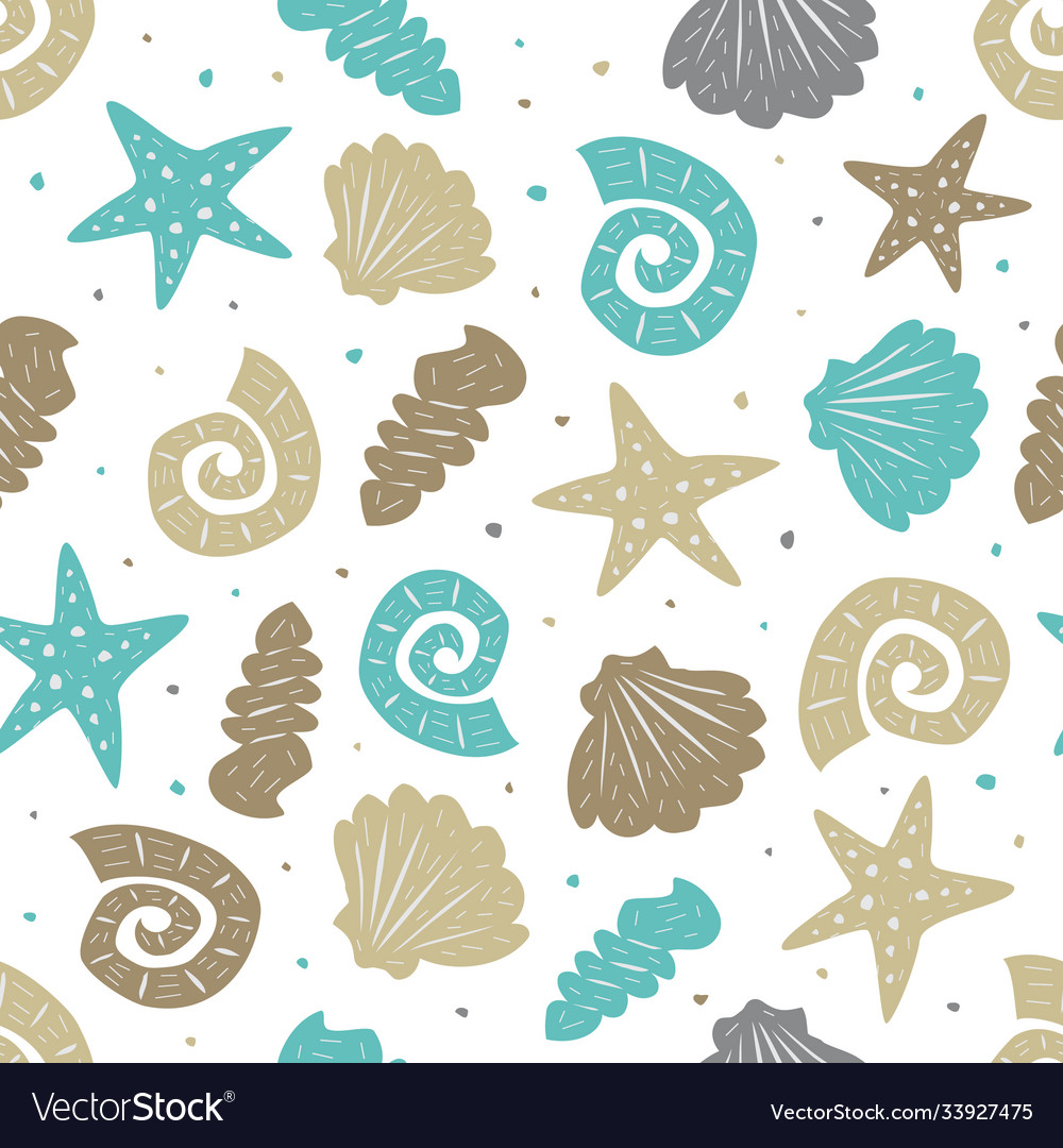 Sea seamless pattern with cute seashells