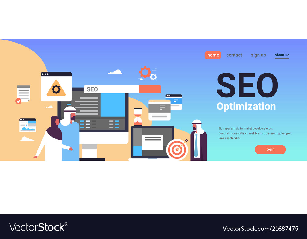 Seo Search Engine Optimization Arabic Couple Man Vector Image