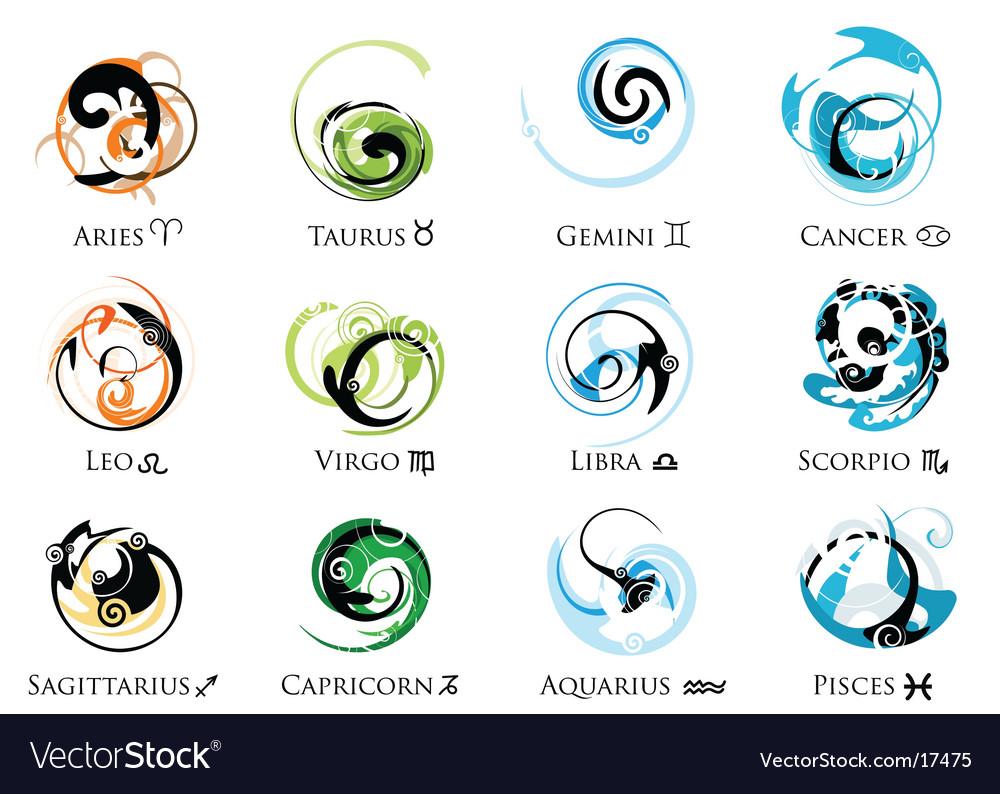 Star Sign Zodiac Symbol Set Royalty Free Vector Image