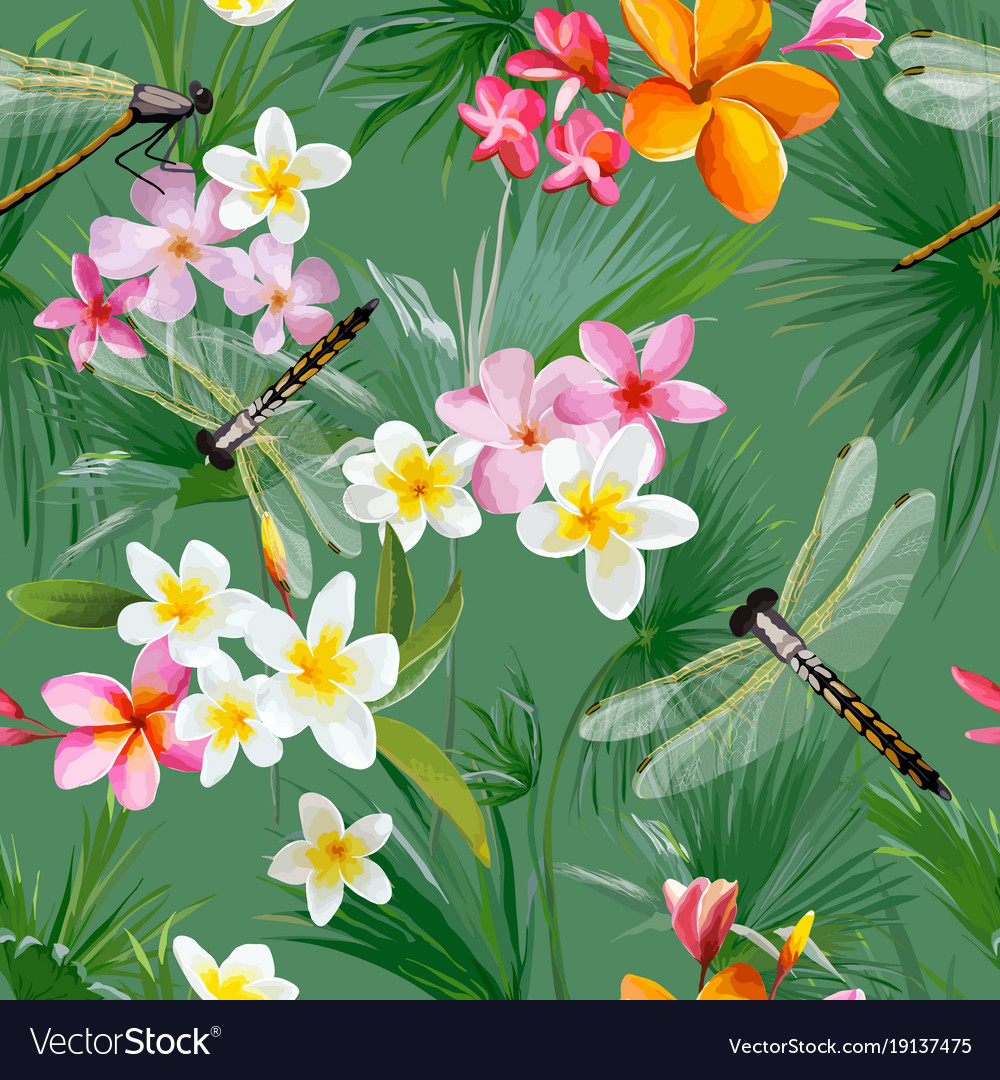 Tropical floral seamless pattern with dragonflies