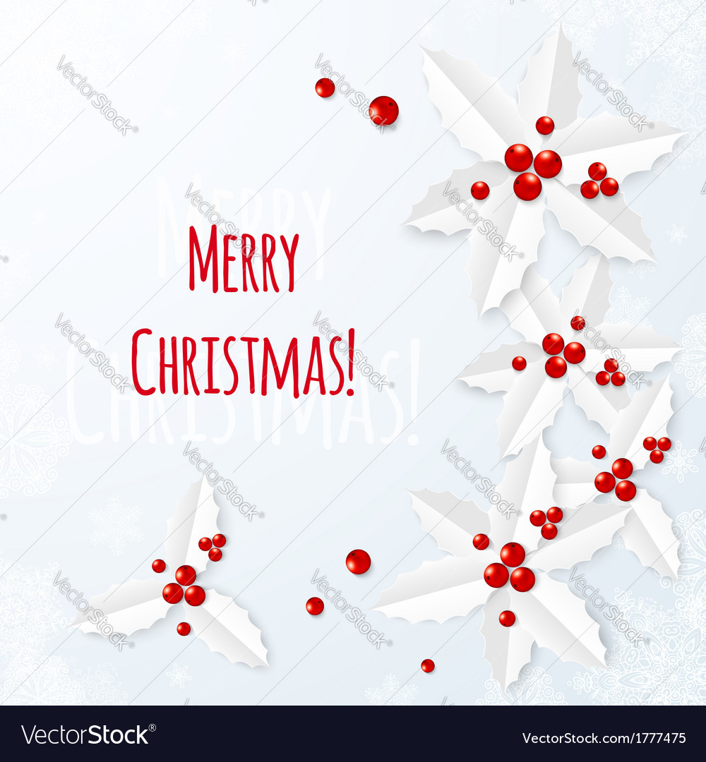 White paper Christmas greeting card