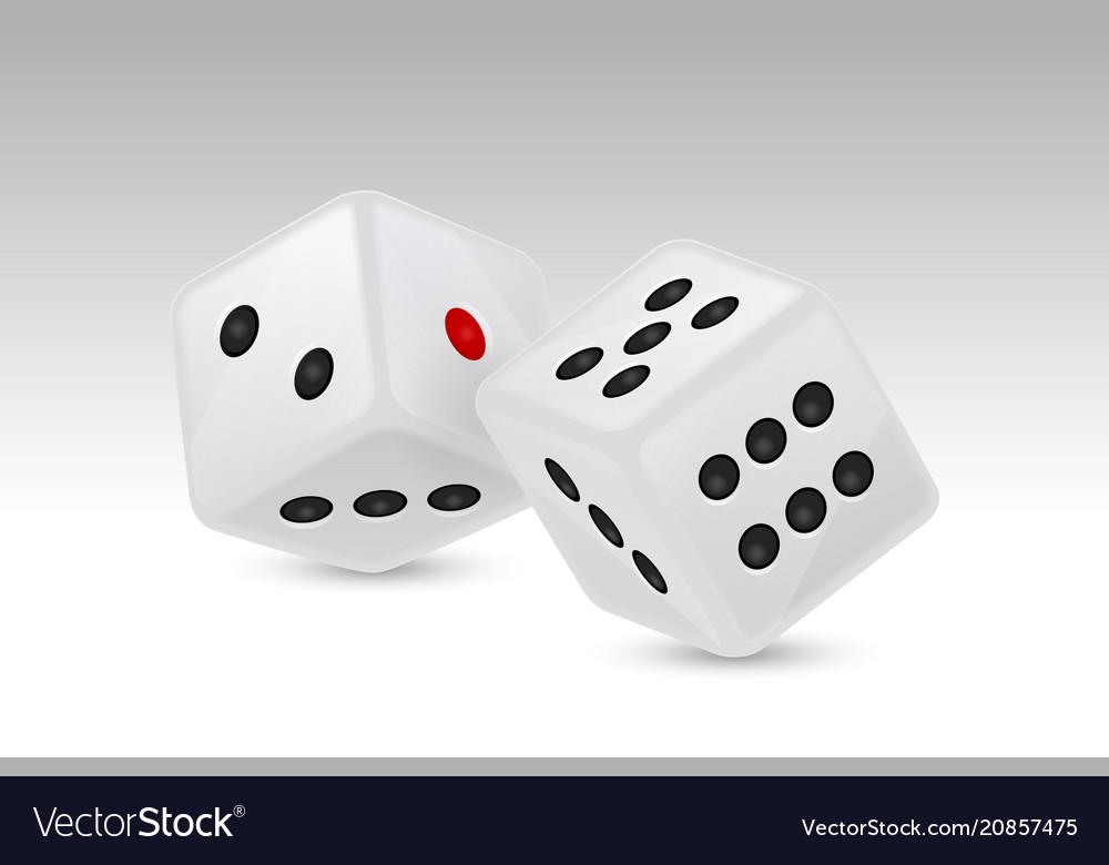 White realistic game dice vector
