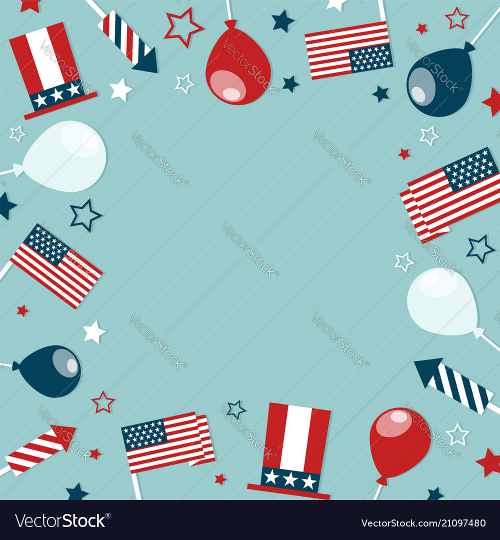 4th of july concept frame with festive attributes