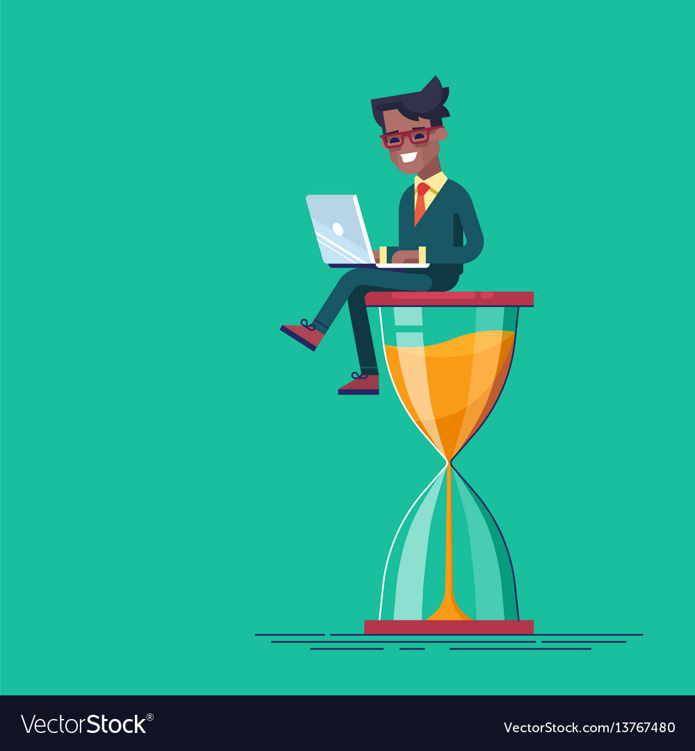 Black man sitting on the hourglass with laptop