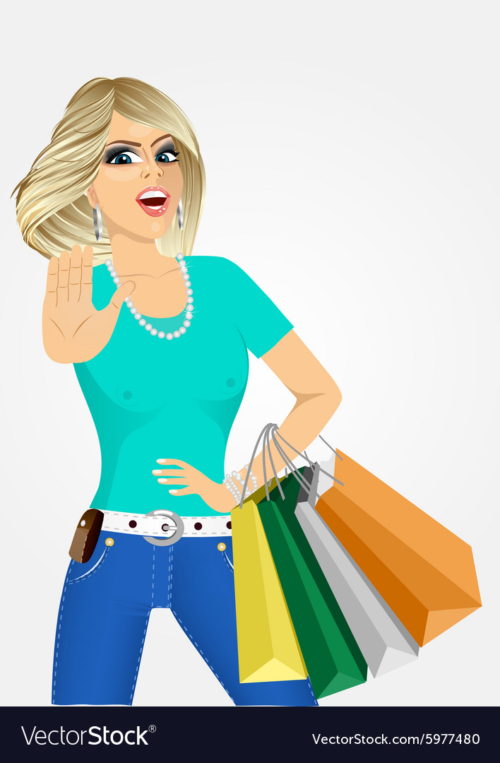 Cheering young woman with shopping bags vector image
