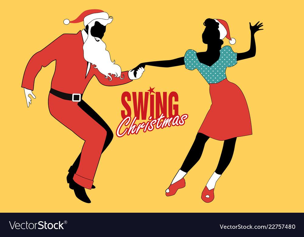 Christmas couple dancing swing rock or lindy hop