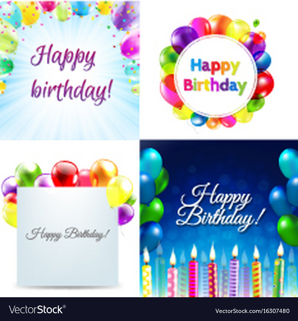 Color birthday cards design template balloon vector image m4hsunfo
