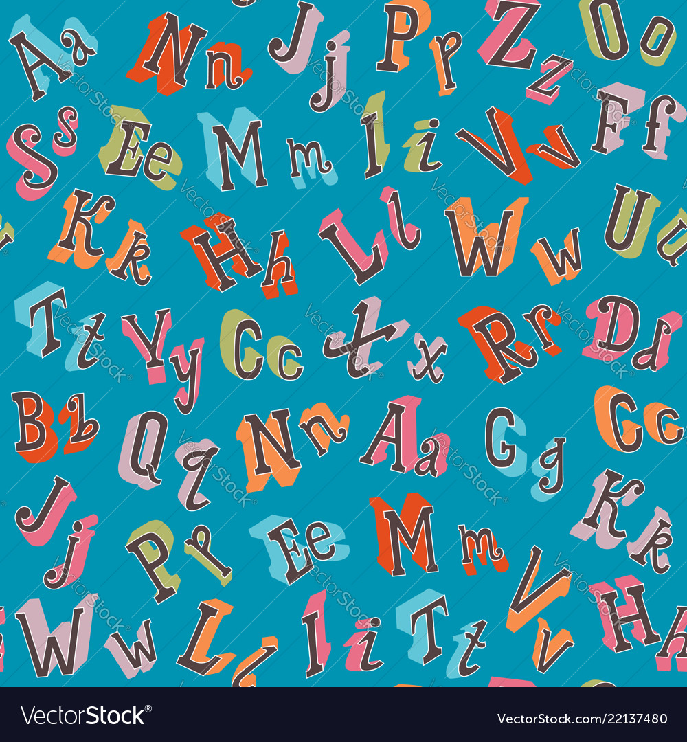 Colorful english alphabet seamless pattern