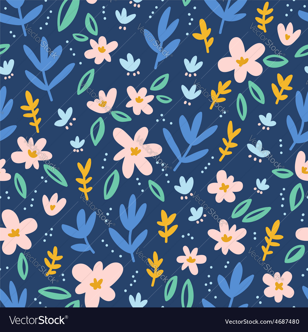 Colorful flowers on deep blue background seamless vector image