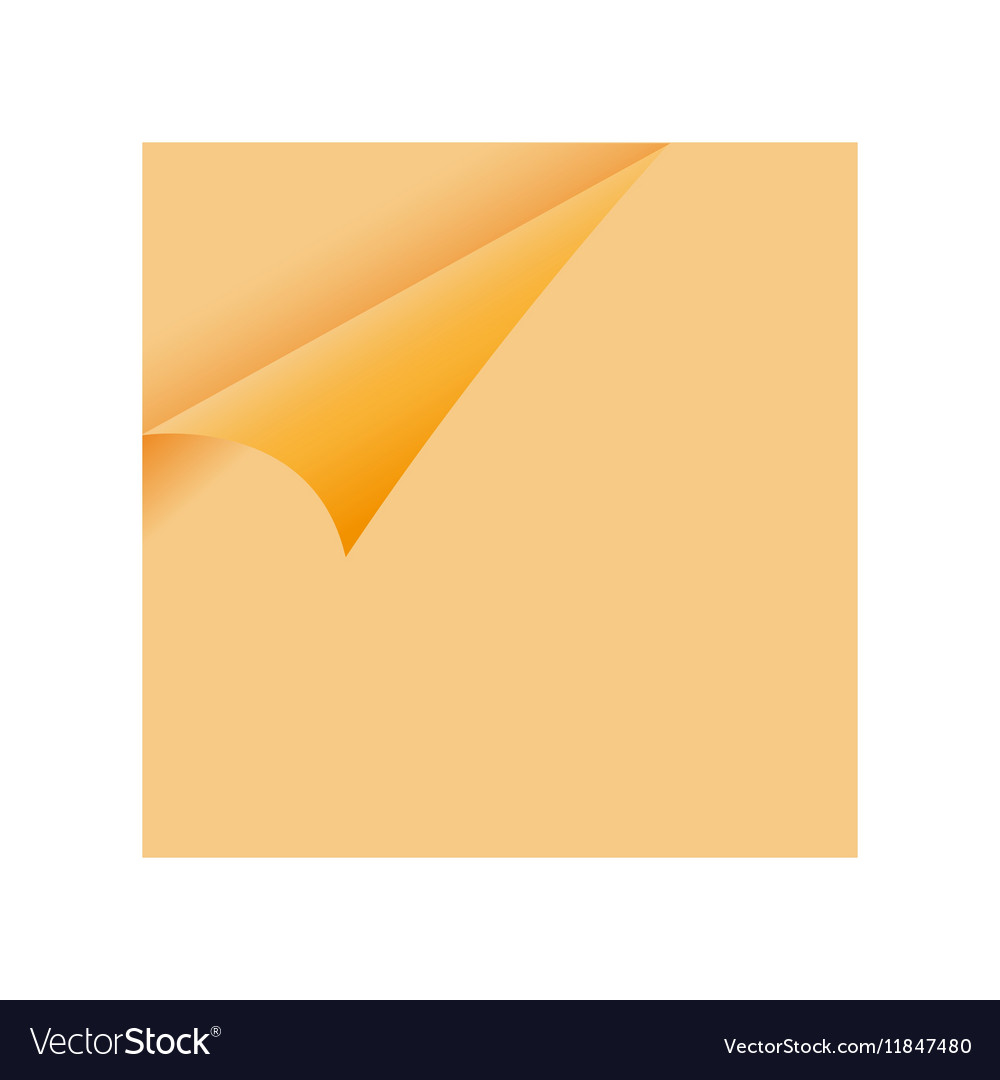 Curled Orange Paper Corner - sticky note vector image