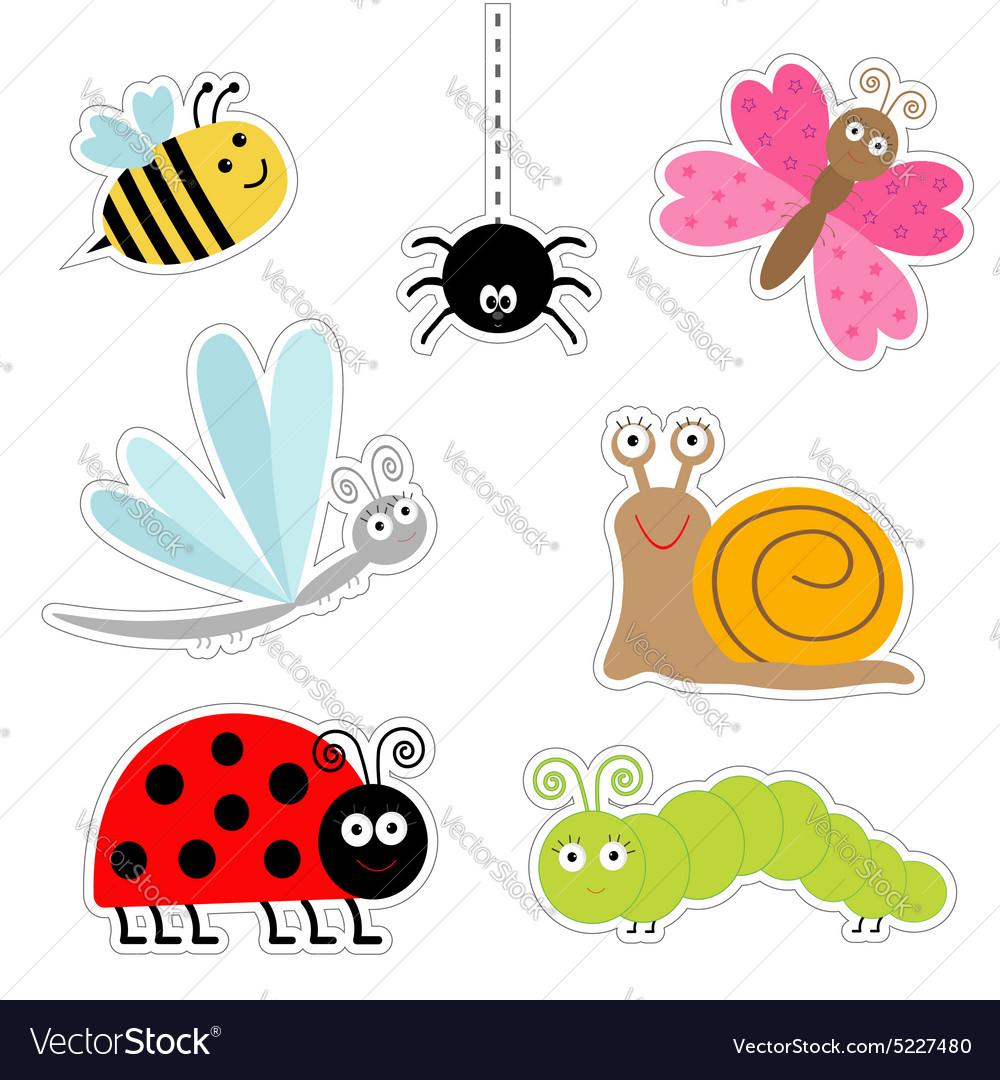 Cute cartoon insect sticker set Ladybug dragonfly