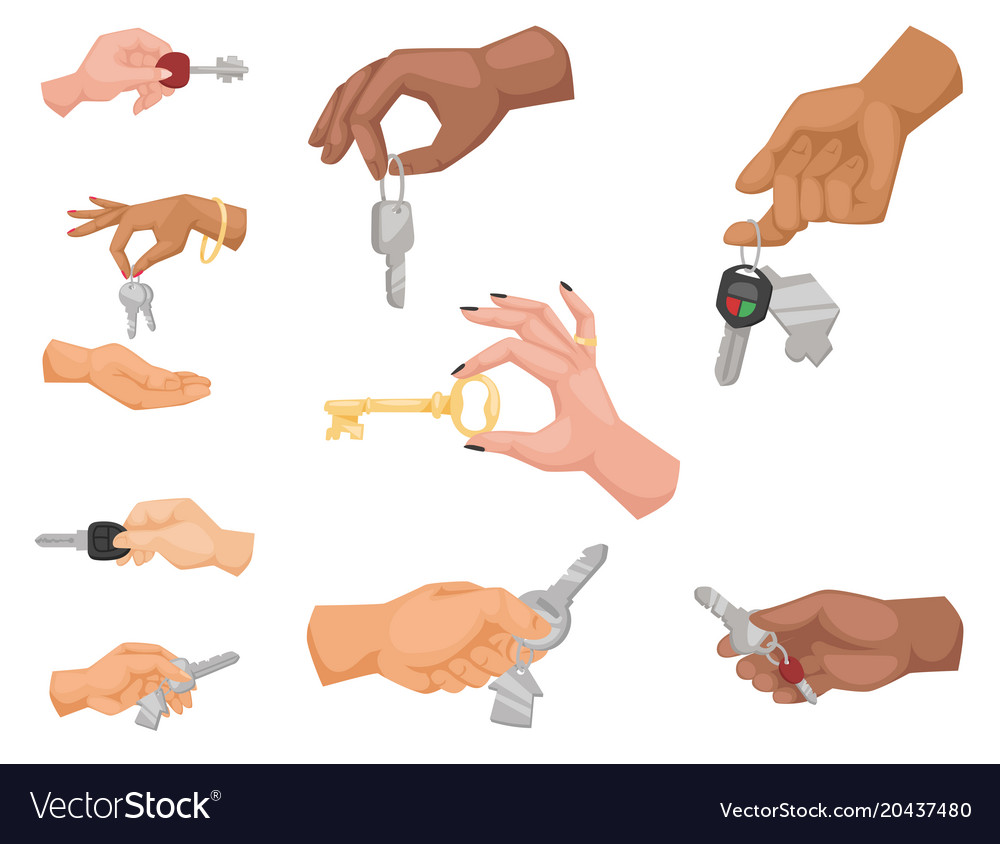 Hand holding key apartment selling human