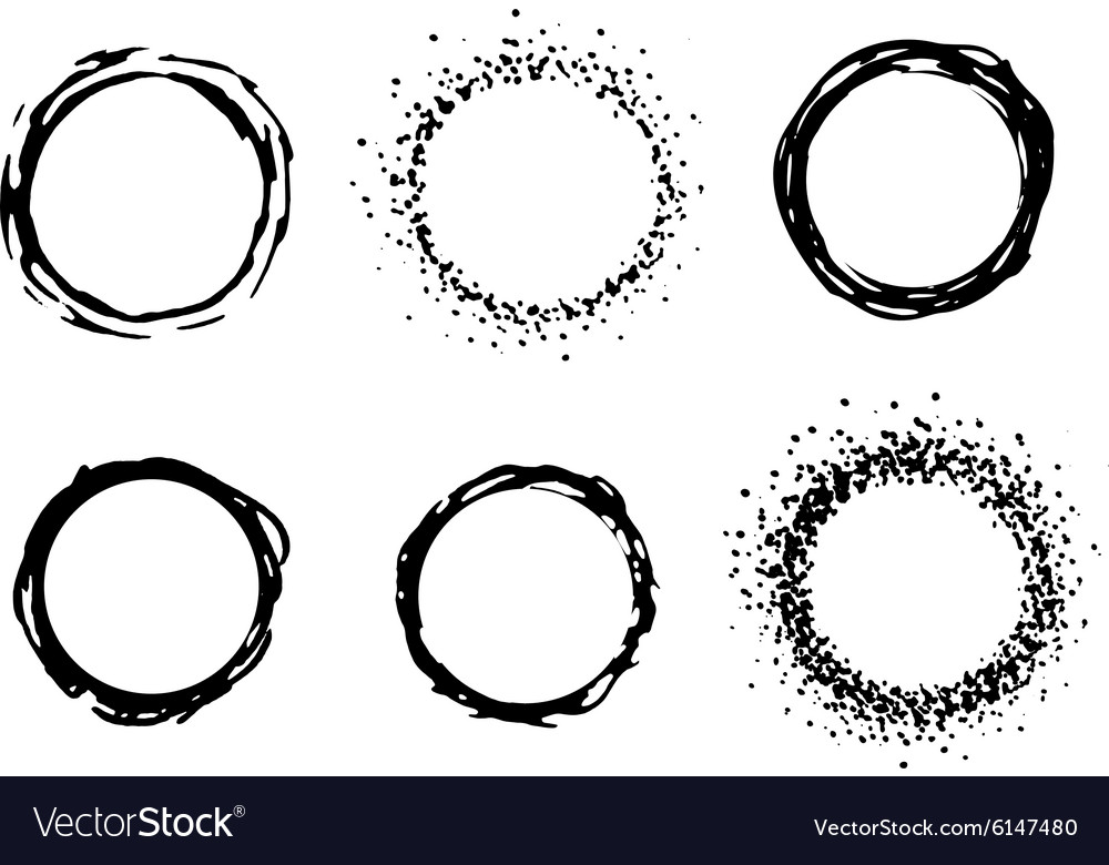 Paint circle frames set Royalty Free Vector Image