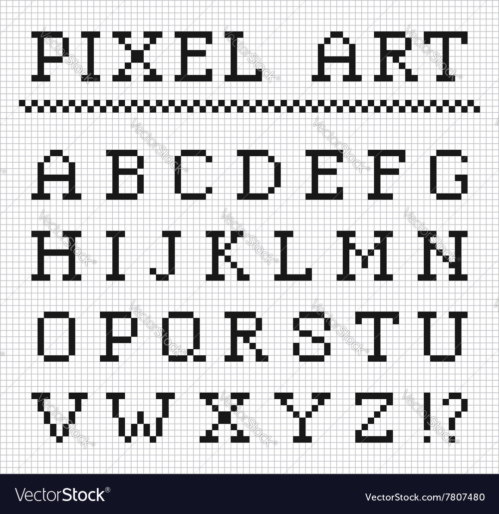 Pixel Font Set Of Pixel Letters Royalty Free Vector Image