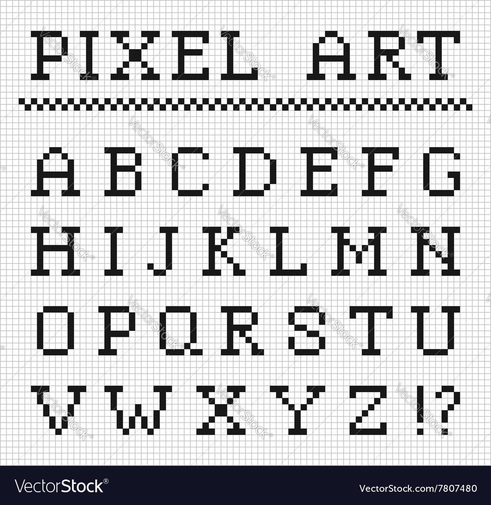 Pixel font set of pixel letters