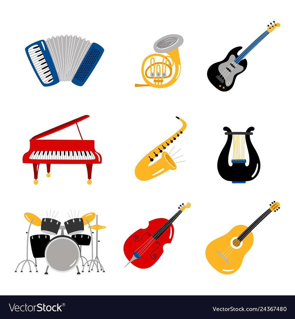 Popular music instruments icons of set