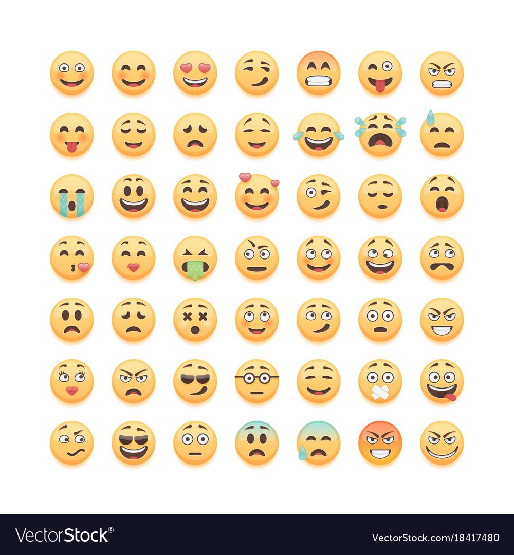 Set of emoticons emoji isolated on white