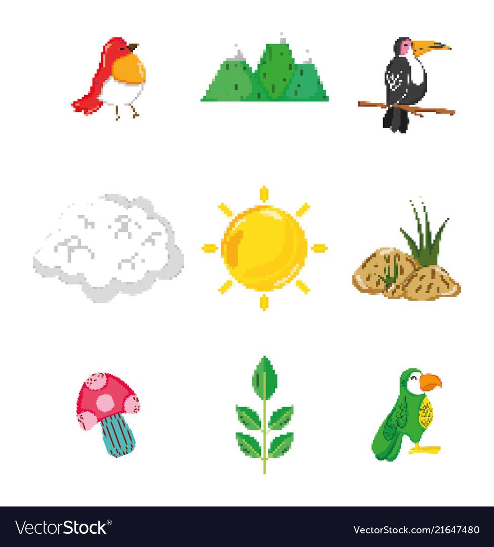 Set of nature pixelated icons
