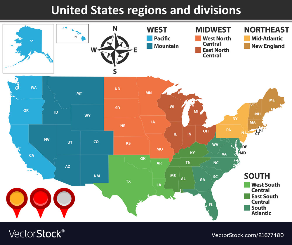 United states regions and divisions vector image