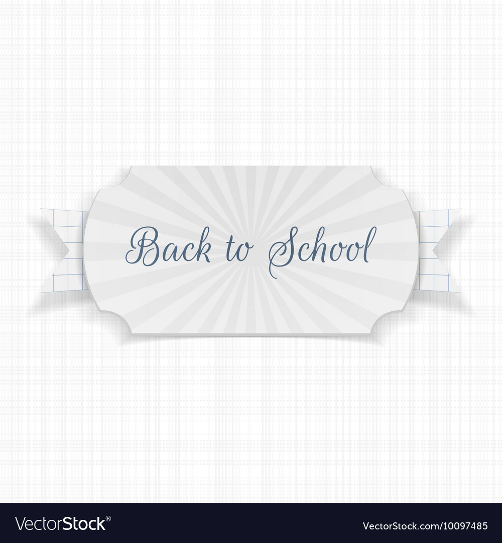 Back to School Text on Label with Ribbon