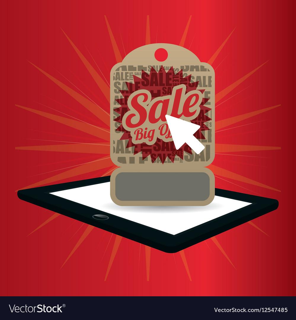 Big offer sale online technology red background